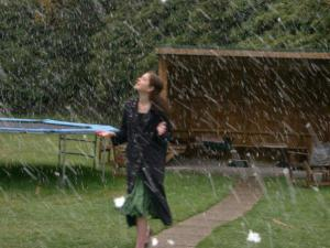 Kayla, during one of her hospitalizations, walking in the first snow. This is my favorite photo of her.